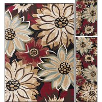 LGN4983SET3 3 Piece Set Beige, Red, and Black Area Rug - Laguna