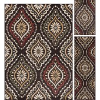 LGN5008 SET3 3 Piece Set Brown, Red, and Green Area Rug - Laguna