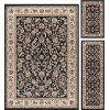 LGN5073 SET3 3 Piece Set Black, Gold & Ivory Area Rug - Laguna