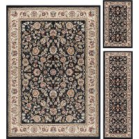 LGN5073SET3 3 Piece Set Black, Gold, and Ivory Area Rug - Laguna