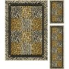 LGN5080 SET3 3 Piece Set Black & Bronze Animal Print Area Rug - Laguna