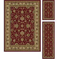 ELG5140 SET3 3-Piece Set Beige & Red Area Rug - Elegance