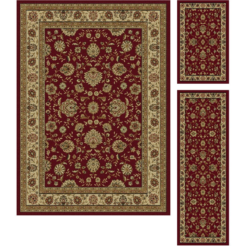 3 piece set beige and red area rug   elegance rcwilley image1~800
