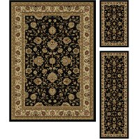 ELG5143 SET3 3 Piece Set Black Area Rug - Elegance