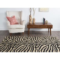 Elg5162 Set3 3 Piece Set Beige And Black Zebra Print Area Rug Elegance