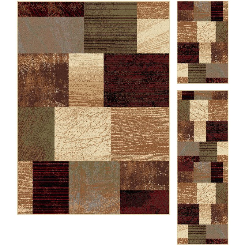Elg5210 Set3 3 Piece Set Brown Red And Green Area Rug Elegance