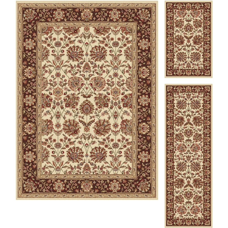3 piece set ivory brown and gold area rug   elegance rcwilley image1~800