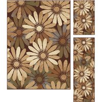 ELG5350SET3 3 Piece Set Brown, Beige, and Blue Area Rug - Elegance