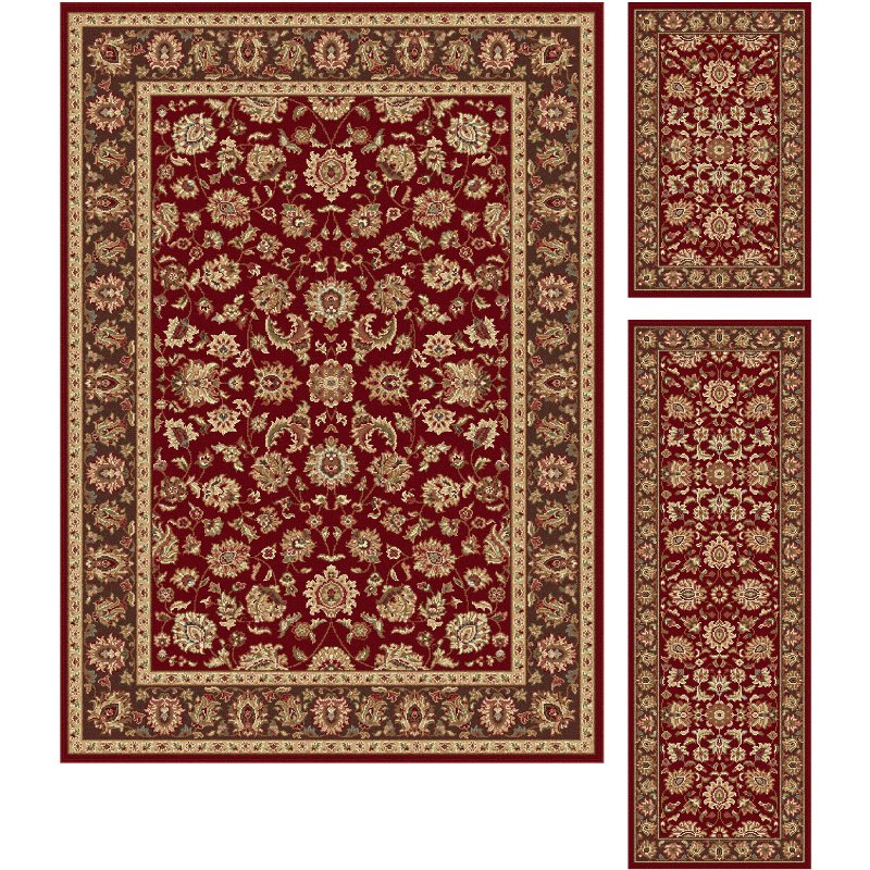 3 piece set red and gold area rug   elegance rcwilley image1~800