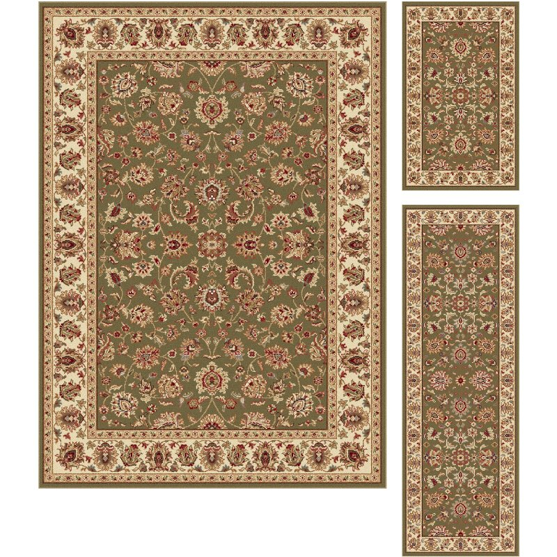 3 piece set green ivory and gold area rug   elegance rcwilley image1~800