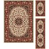 ELG5392 SET3 3 Piece Set Ivory, Red, and Gold Area Rug - Elegance