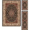 ELG5393 SET3 3 Piece Set Black, Red, and Gold Area Rug - Elegance