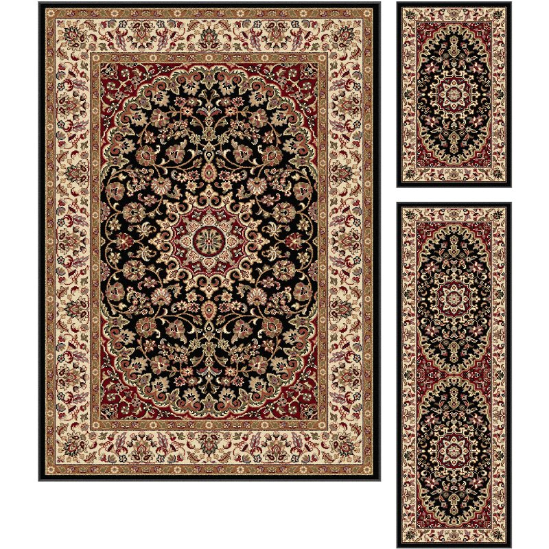 3 Piece Set Gray-Blue, Gold, and Red Area Rug - Elegance