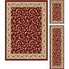 ELG5400SET3 3 Piece Set Ivory, Gold, and Red Area Rug - Elegance