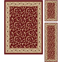 ELG5400 SET3 3 Piece Set Ivory, Gold, and Red Area Rug - Elegance
