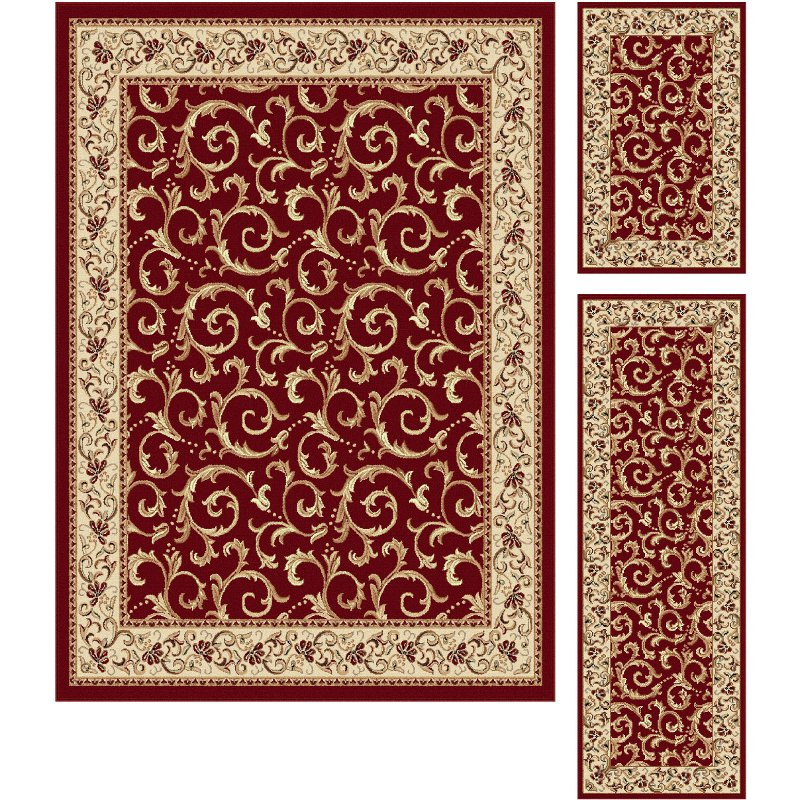 3 piece set ivory gold and red area rug   elegance rcwilley image1~800