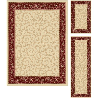 Red Area Rugs Clearance 8x10 Ikea Piece Set Ivory Gold Rug Elegance