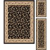 ELG5403 SET3 3 Piece Set Ivory, Gold & Black Area Rug - Elegance