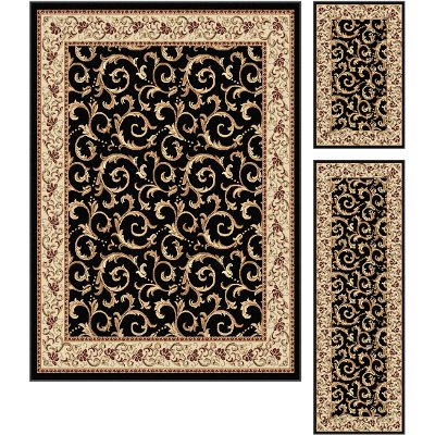 Black Area Rugs 3-piece set ivory, gold & black area rug - elegance | rc willey