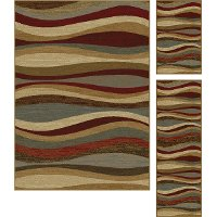 ELG5420 SET3 3 Piece Set Red, Gray-Blue, and Beige Area Rug - Elegance