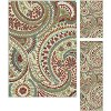DCO1001 SET3 3-Piece Set Ivory, Red & Teal Area Rug - Deco