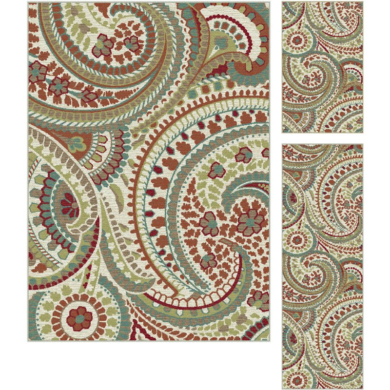 3 piece set ivory red and teal area rug   deco rcwilley image1~800
