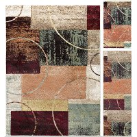 DCO1004SET3 3 Piece Set Red, Brown, and Teal Area Rug - Deco
