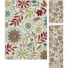 DCO1008 SET3 3 Piece Set Teal, Red, and Ivory Area Rug - Deco