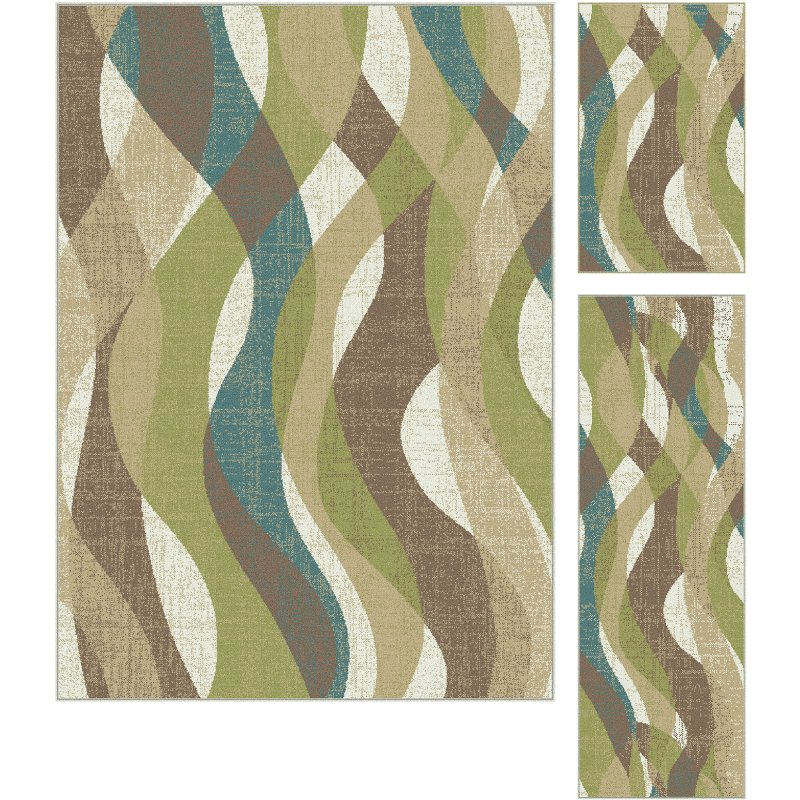 3 piece set ivory teal blue and green area rug   deco rcwilley image1~800