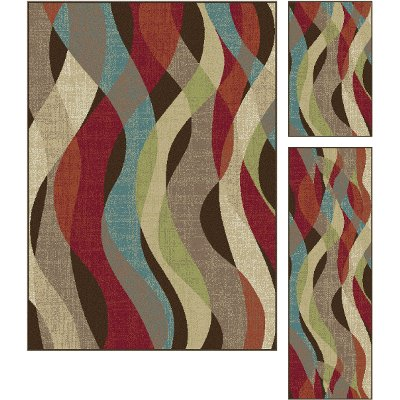 DCO1013 Set3 3 Piece Set Brown, Red U0026 Teal Blue Area Rug