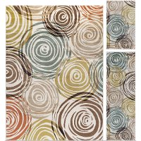 DCO1016SET3 3 Piece Set Brown, Ivory, and Green Area Rug - Deco