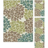 DCO1020 SET3 3 Piece Set Teal Blue, Ivory, and Green Area Rug - Deco
