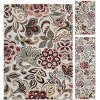 DCO1025 SET3 3 Piece Set Teal Blue, Ivory, and Red Area Rug - Deco