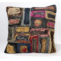 Multi Colored Upcycled Neckties Throw Pillow