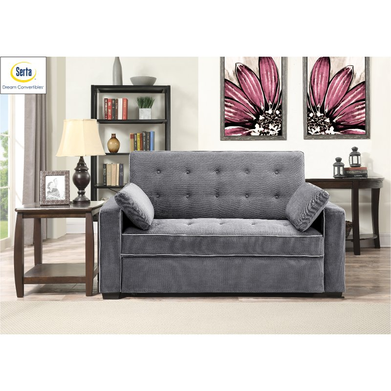 Gray Full Convertible Sofa Bed Augustine
