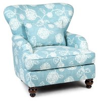 Ocean Blue Floral Accent Chair Adele Rc Willey