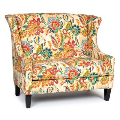 1500AYERSJEWEL Floral Wing Settee   Ayers