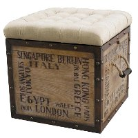 Square Off White Upholstered Ottoman