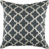 Charcoal Gray and Ivory Embroidered Throw Pillow
