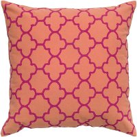 Orange and Pink 18 Inch Throw Pillow