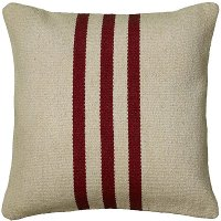 Beige and Red 18 Inch Striped Throw Pillow