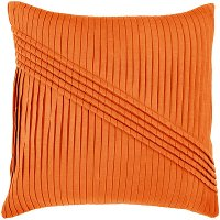 Orange Pleated 22 Inch Throw Pillow