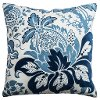 Blue Cotton Casement Velvet Throw Pillow