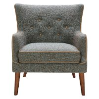 Teal and Brown Transitional Accent Chair - Avanti