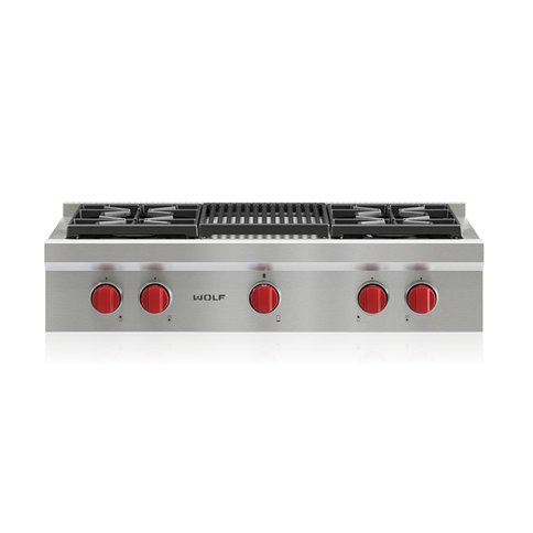 SRT364C Wolf 36 Inch Sealed Burner Gas Rangetop - Stainless Steel