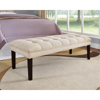 Tan Tufted Bed Bench