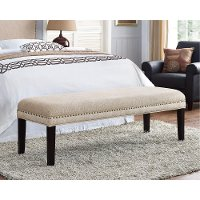 Tan Upholstered Bed Bench