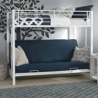 White Twin-over-Futon Metal Bunk Bed