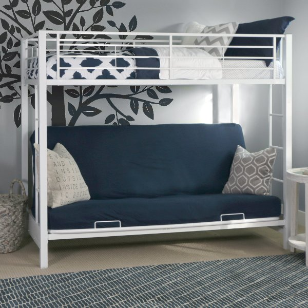 White Twin Over Futon Metal Bunk Bed