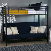 Black Twin-over-Futon Metal Bunk Bed